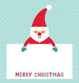 santa claus holding a blank sign vector image vector image