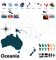 Maps with flags of Oceania vector image