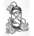 Hand drawn design of hourglass with roses vector image