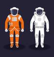 astronaut and cosmonaut on dark background vector image