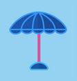 blue sun umbrella with pink stick isolated vector image