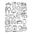 doodle kitchenware set vector image