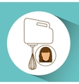 mixer hand kitchen cook icon female avatar design vector image