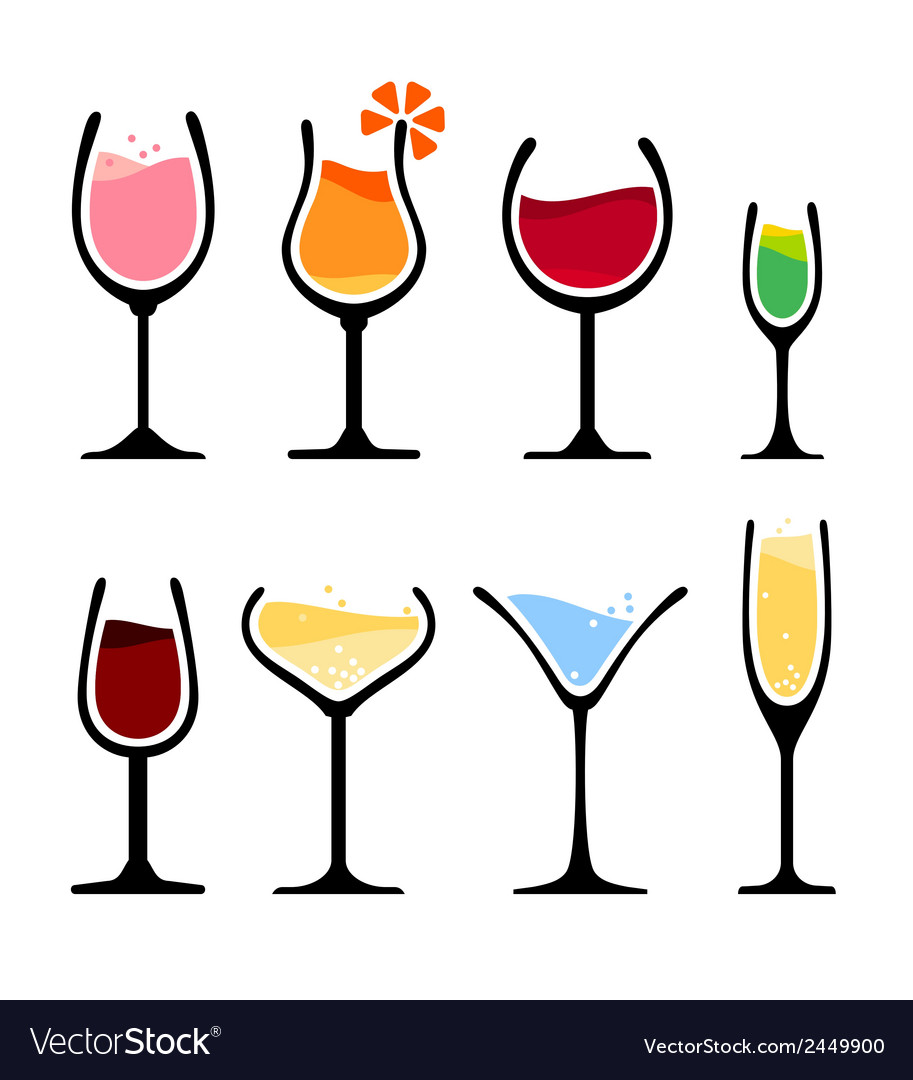 Set of wine glass vector