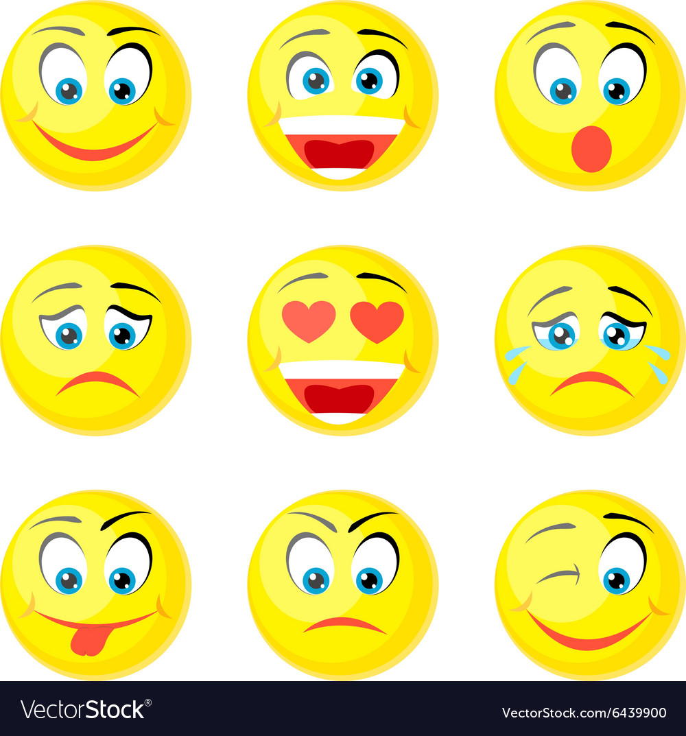 Yellow smile icons vector