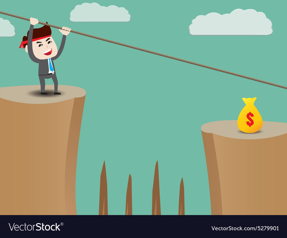 Businessman rope over cliff vector