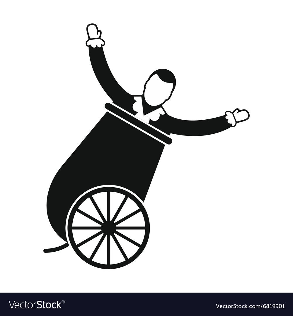 Circus man in cannon simple icon vector