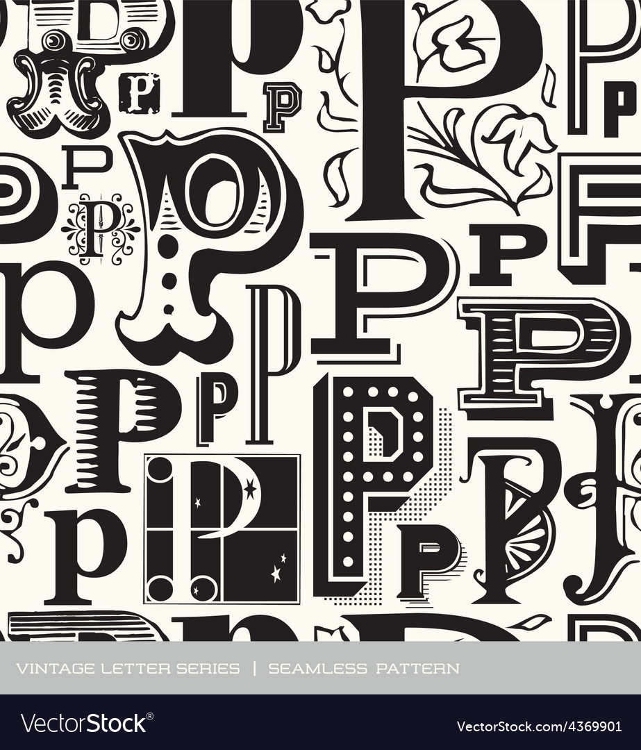 Seamless vintage pattern letter p vector