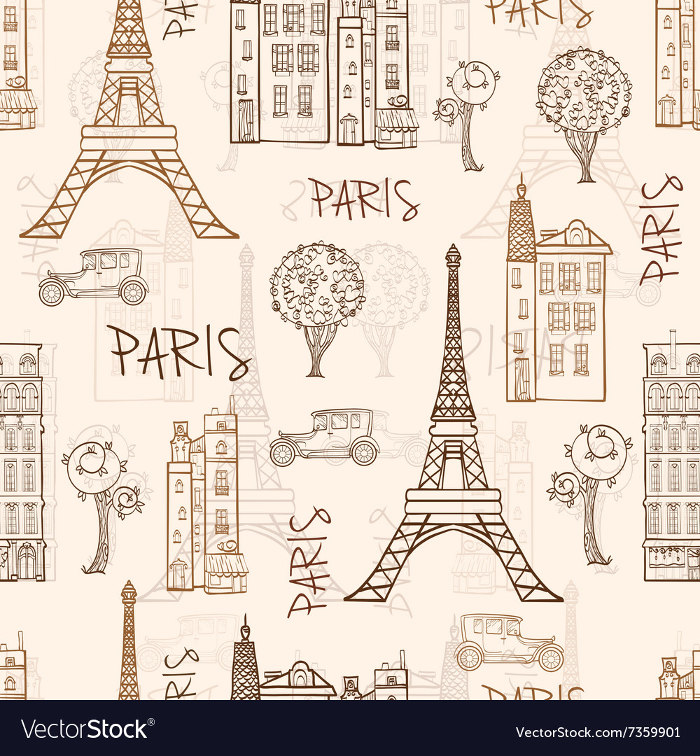Vintage brown paris streets travel seamless vector