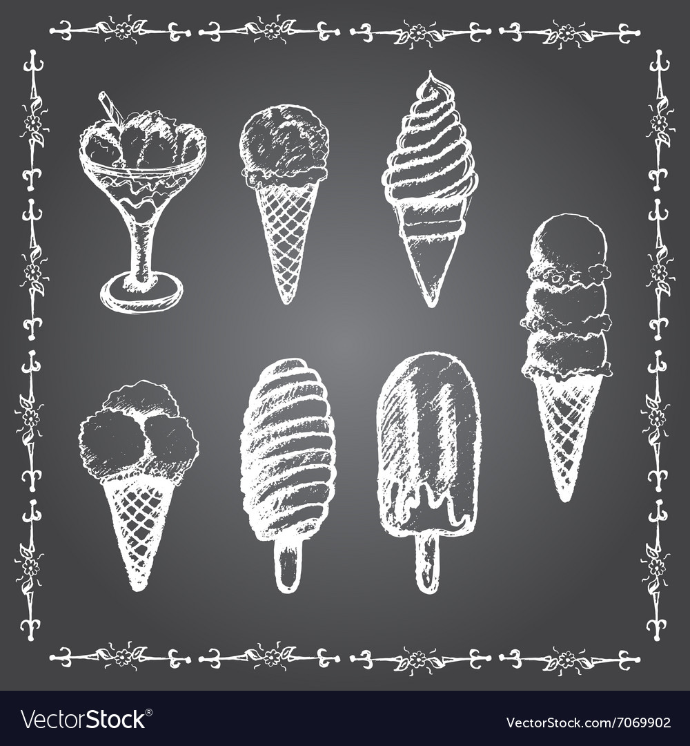 Chalk ice cream set vector