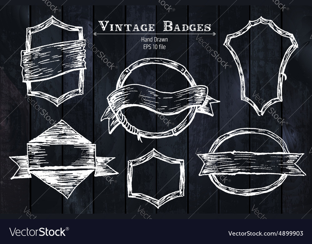 Vintage sketched badges vector