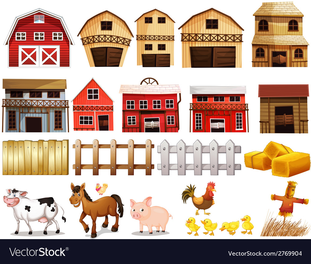 Farm set vector