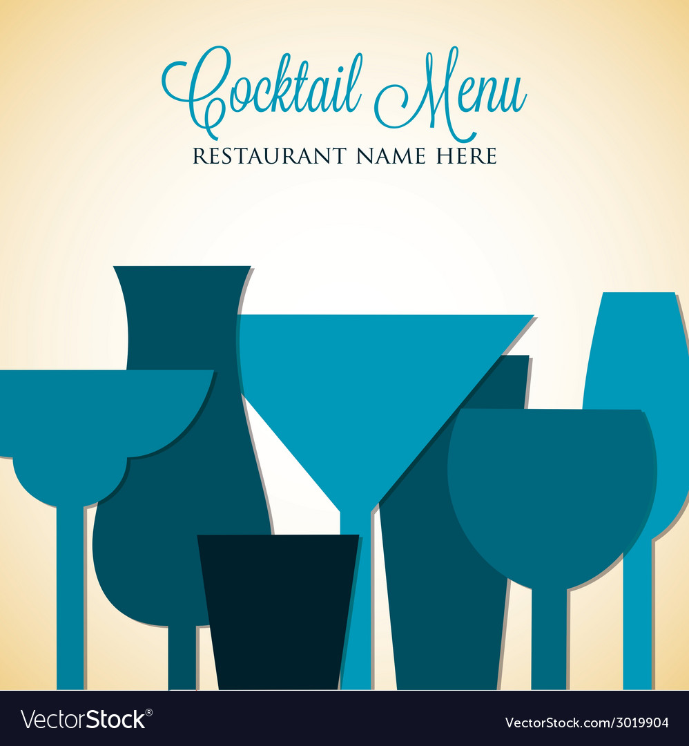 Retro overlay cocktail card in format vector