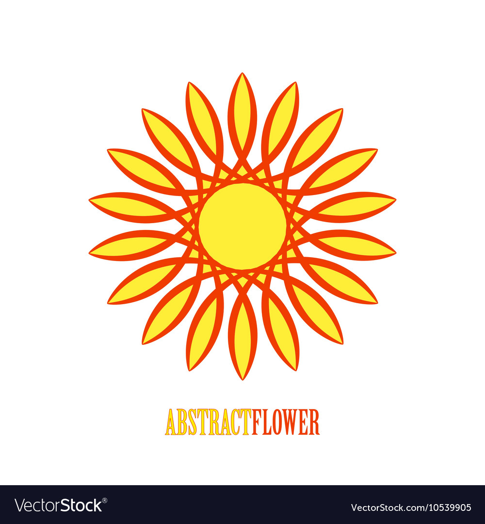 Abstract yellow flower mandala icon over vector