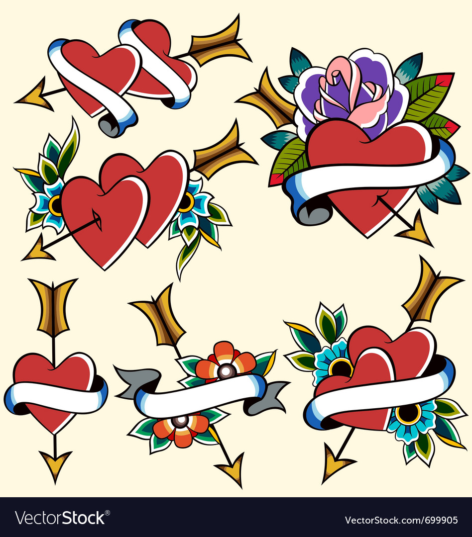 Classic vintage heart tattoo vector