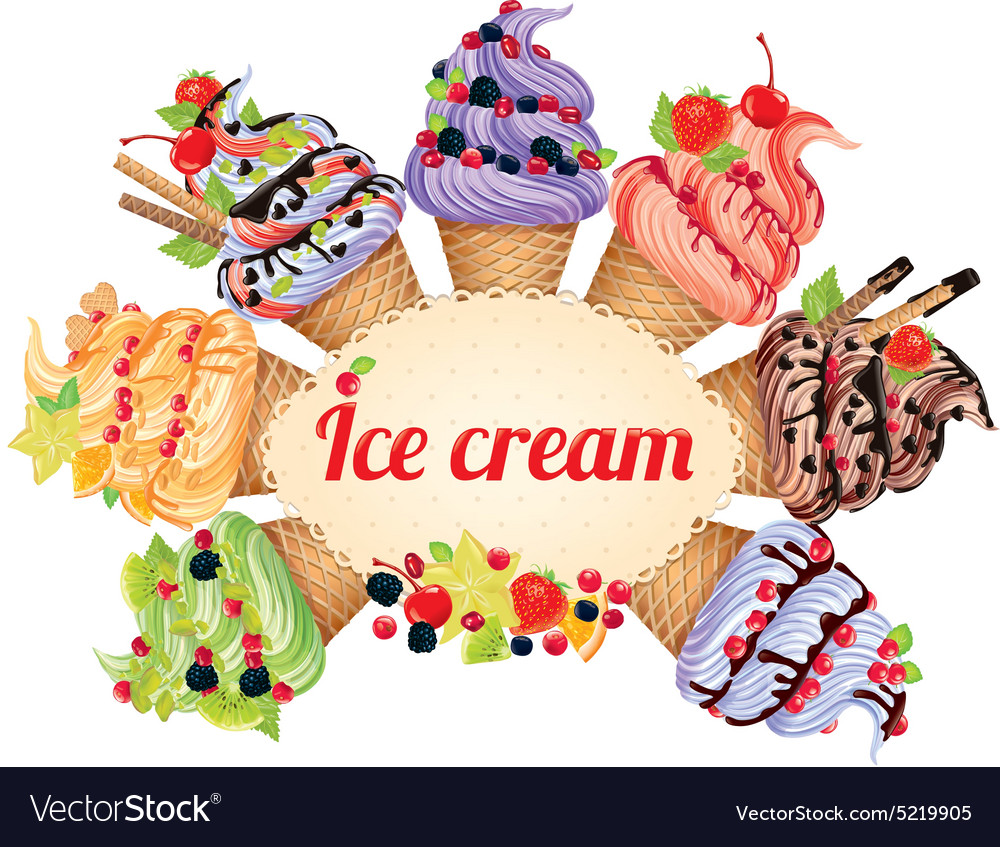 Ice cream different tastes vector