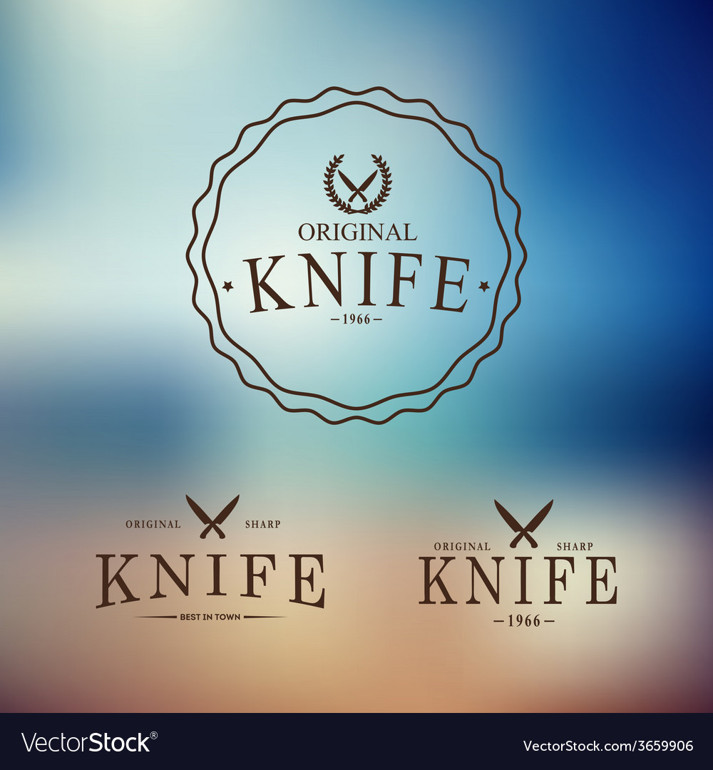 Logo with a set of knives on abstract background vector