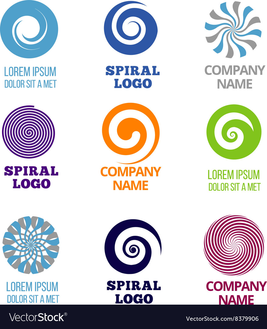 Spiral and swirl logos set vector
