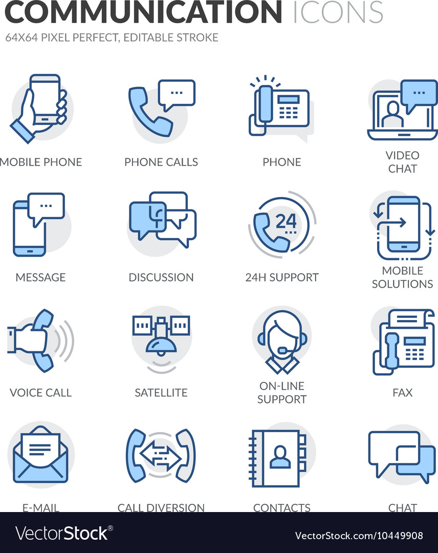 Line communication icons vector