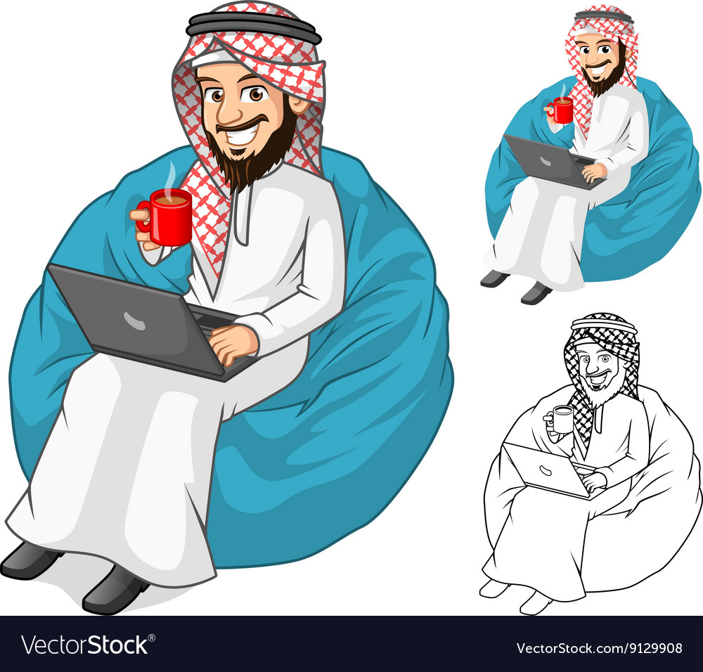 Middle eastern man holding a cup of coffee vector