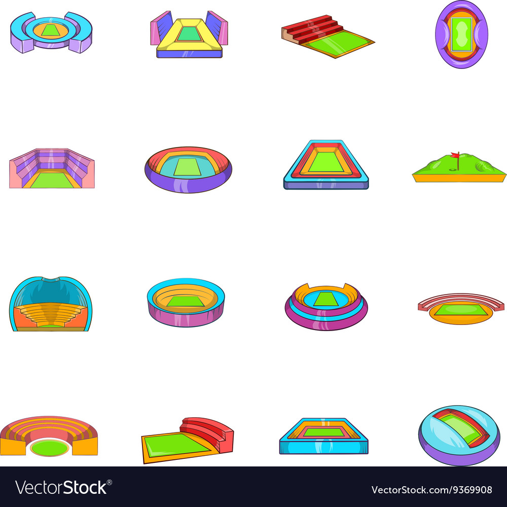 Stadium icons set cartoon style vector