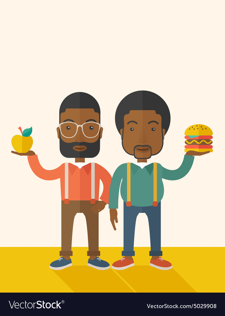 Two black businessmen comparing apple to hamburger vector