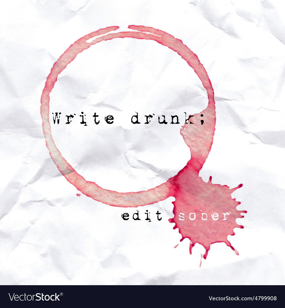 Wine glass mark on crumbled paper quote about vector