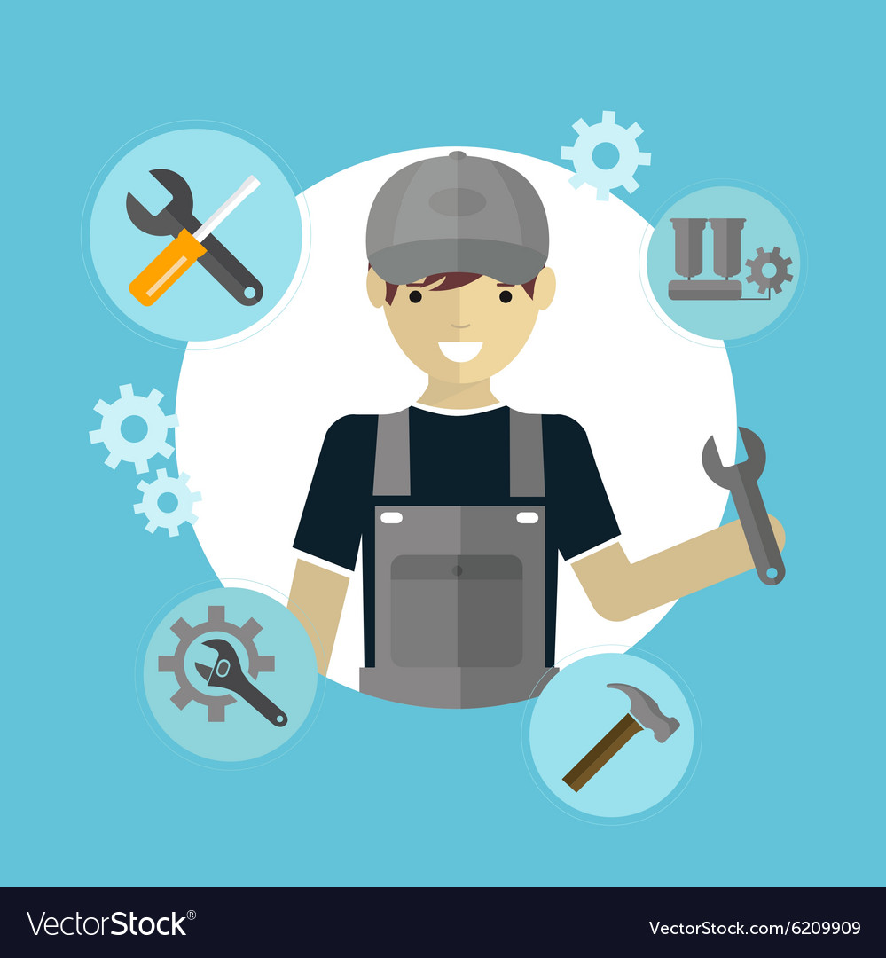 Modern flat concept of mechanic with tools vector