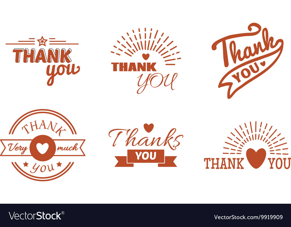 Thank you text set vector