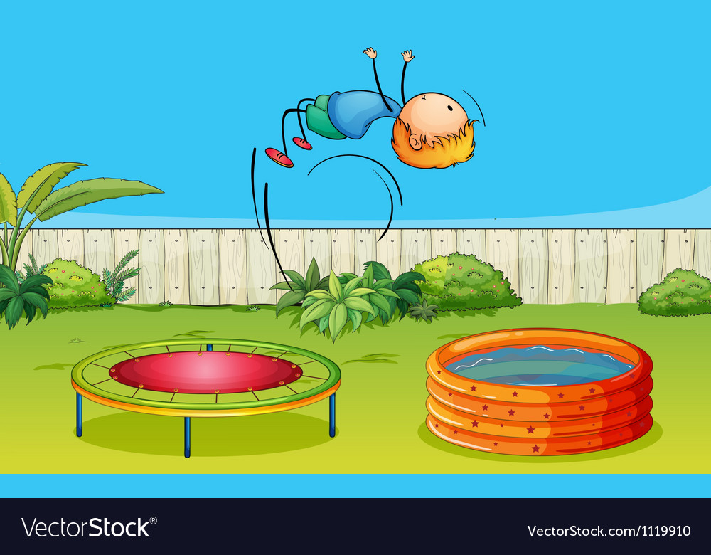 A boy playing trampoline vector