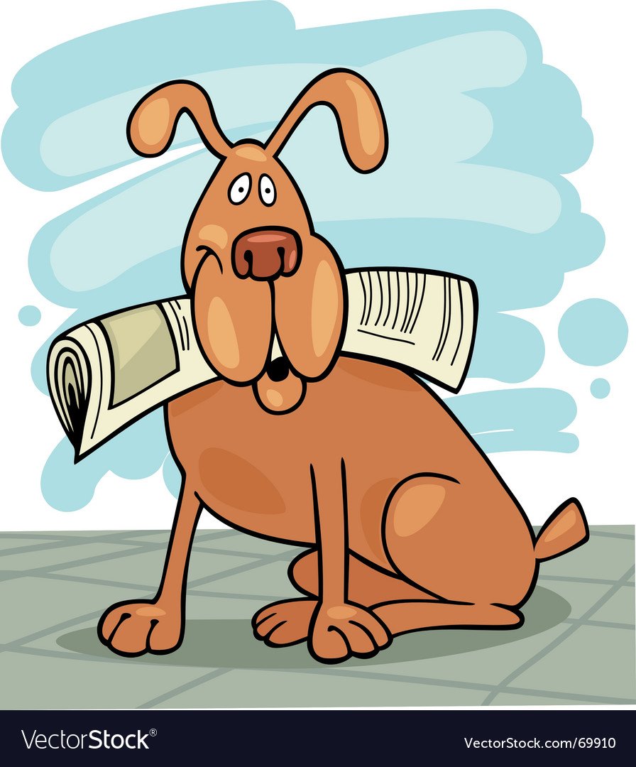 Dog with newspaper vector