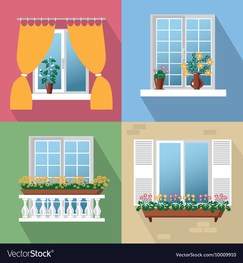 Flowers on window vector