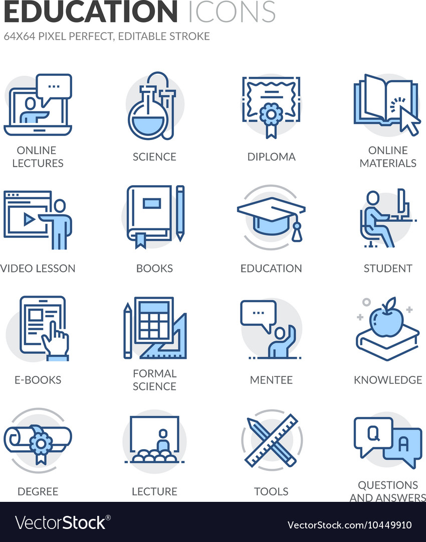 Line education icons vector