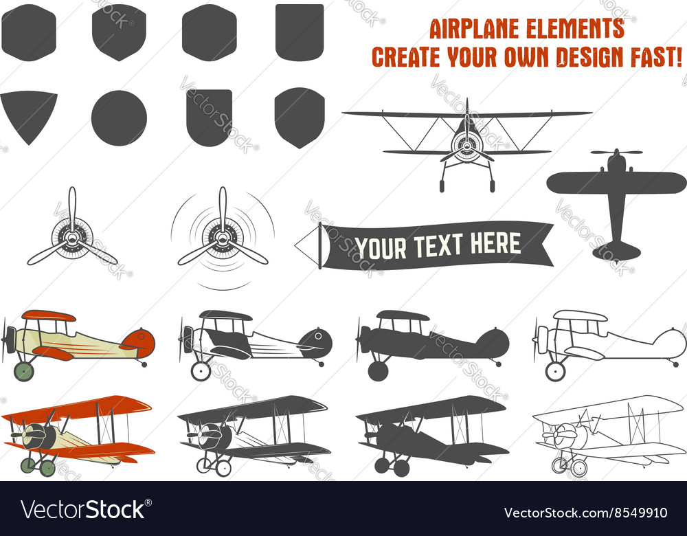 Vintage airplane symbols biplane graphic vector