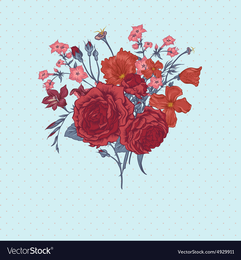 Beautiful summer bouquet with victorian roses vector