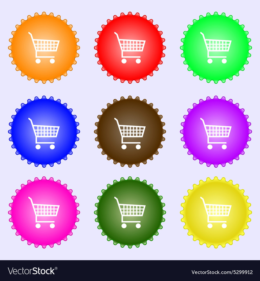Shopping cart icon sign a set of nine different vector