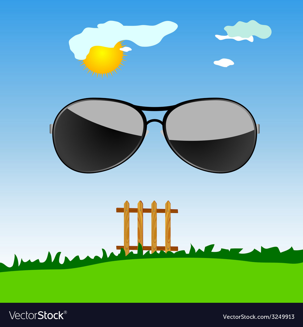 Sunglass in the nature cartoon art vector