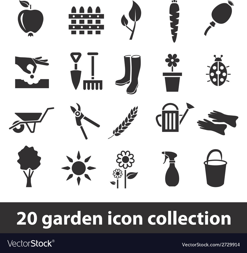 20 garden icon collection vector
