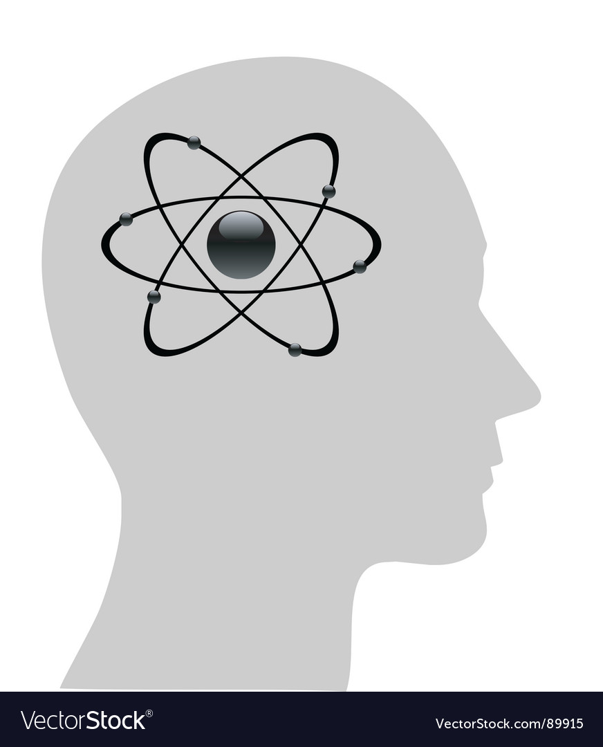 Atomic symbol in human head vector