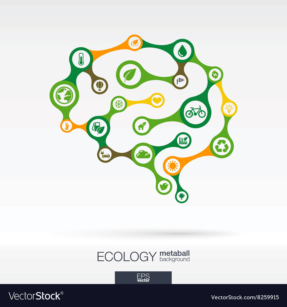 Brain concept with eco earth green recycling vector