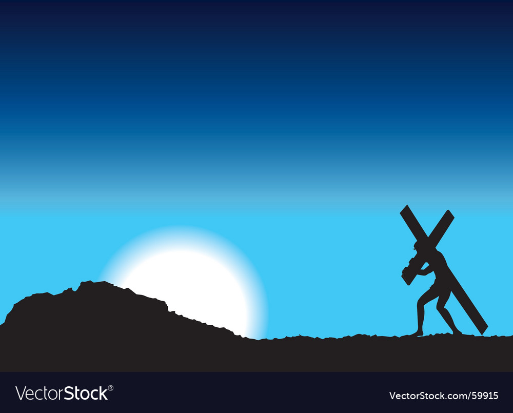 Jesus carries cross vector