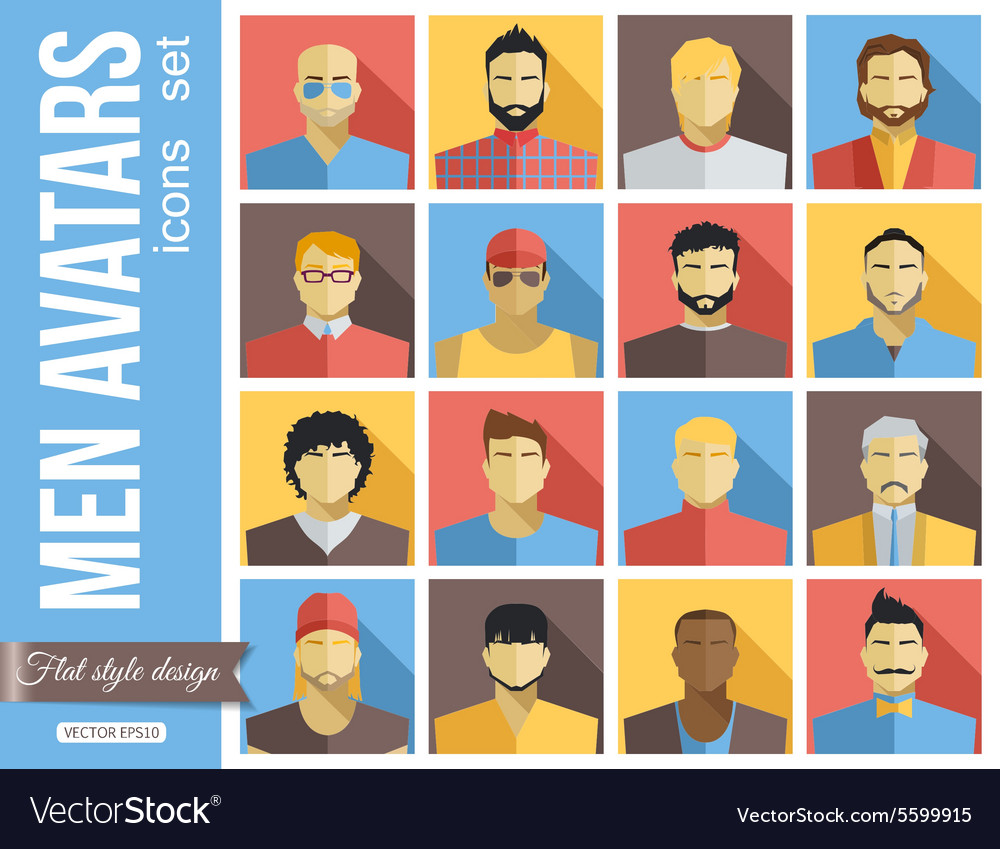 Set of men avatars icons colorful male faces vector
