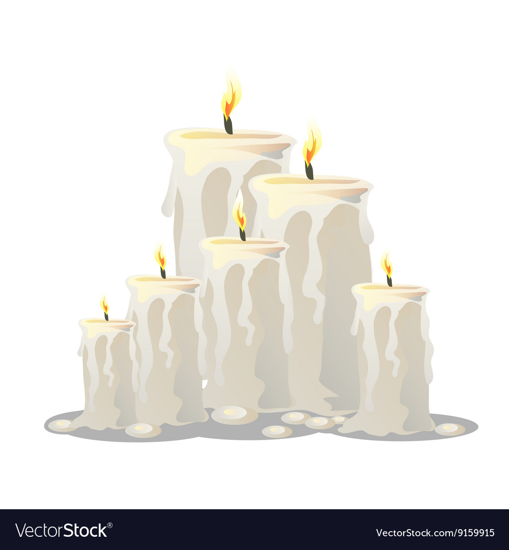 Set of white candles with a burning wick vector