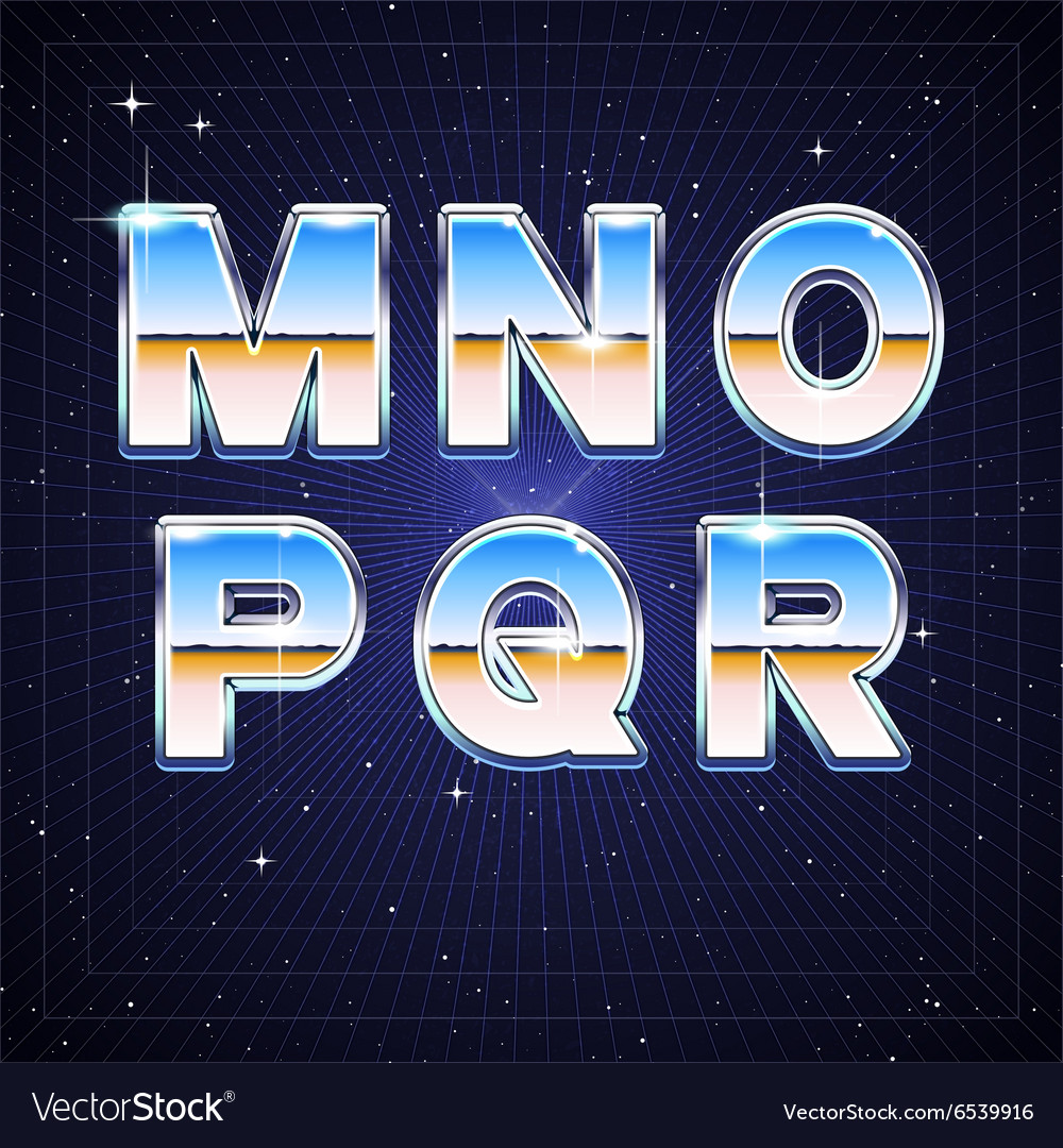 80s retro scifi font from m to r vector