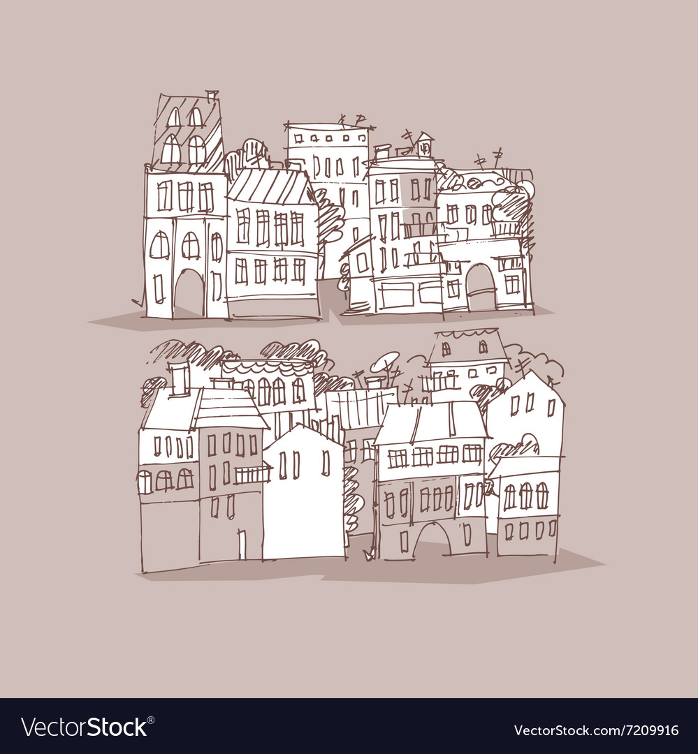 Hand drawn street sketch vector