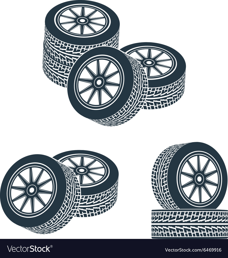 Rubber wheel tire rim drive car vector