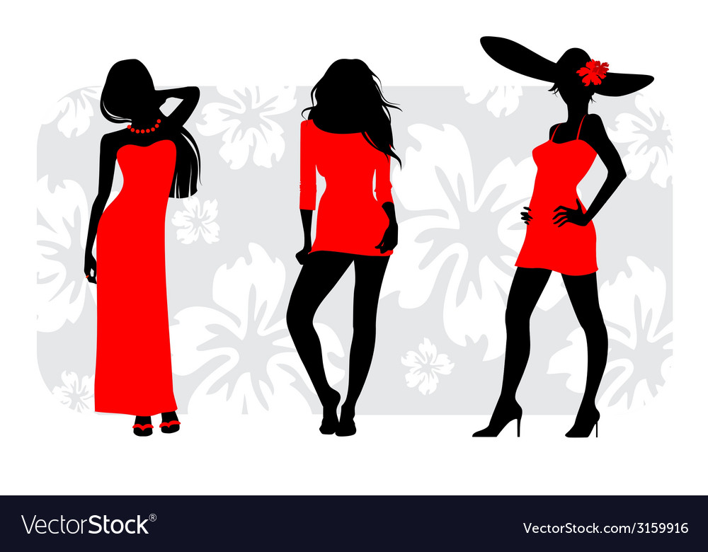 Three girls silhouettes vector
