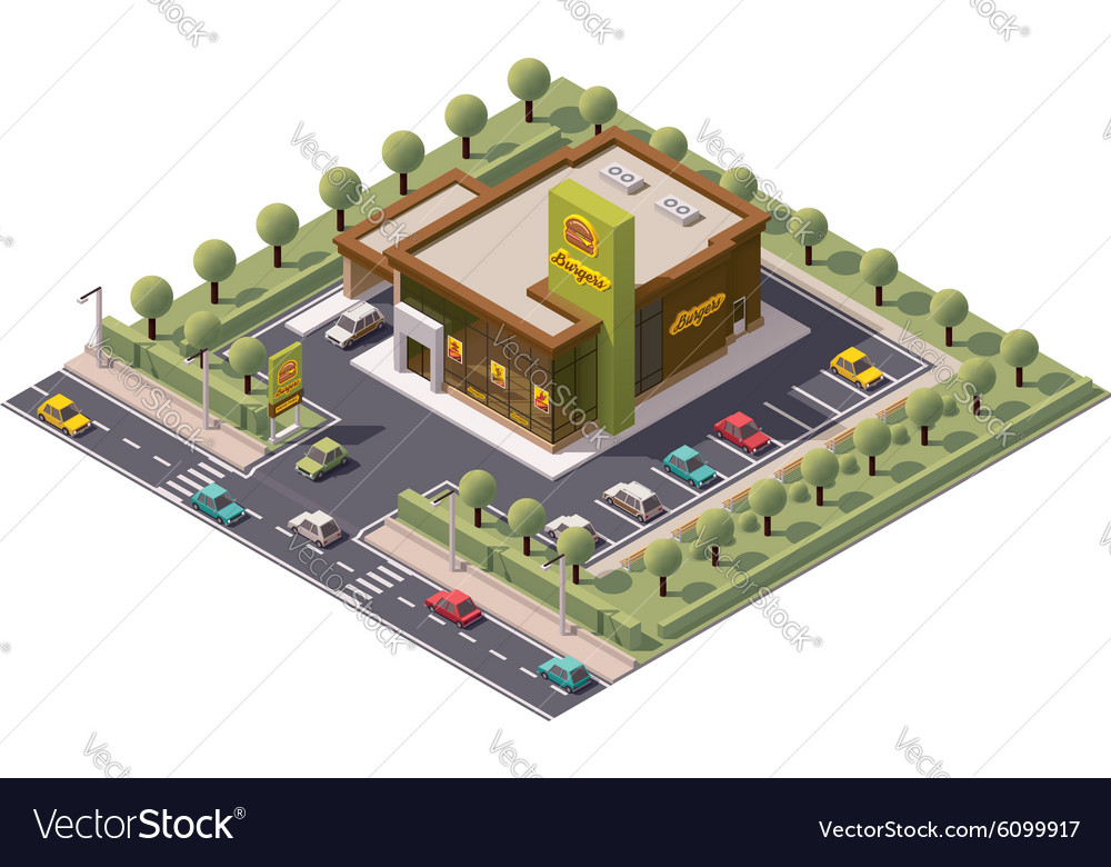 Isometric fast food restaurant vector