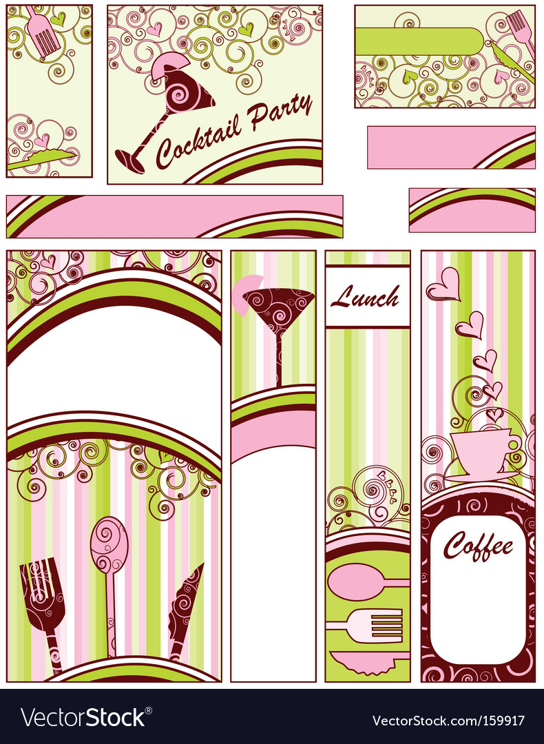 Set of food banners vector