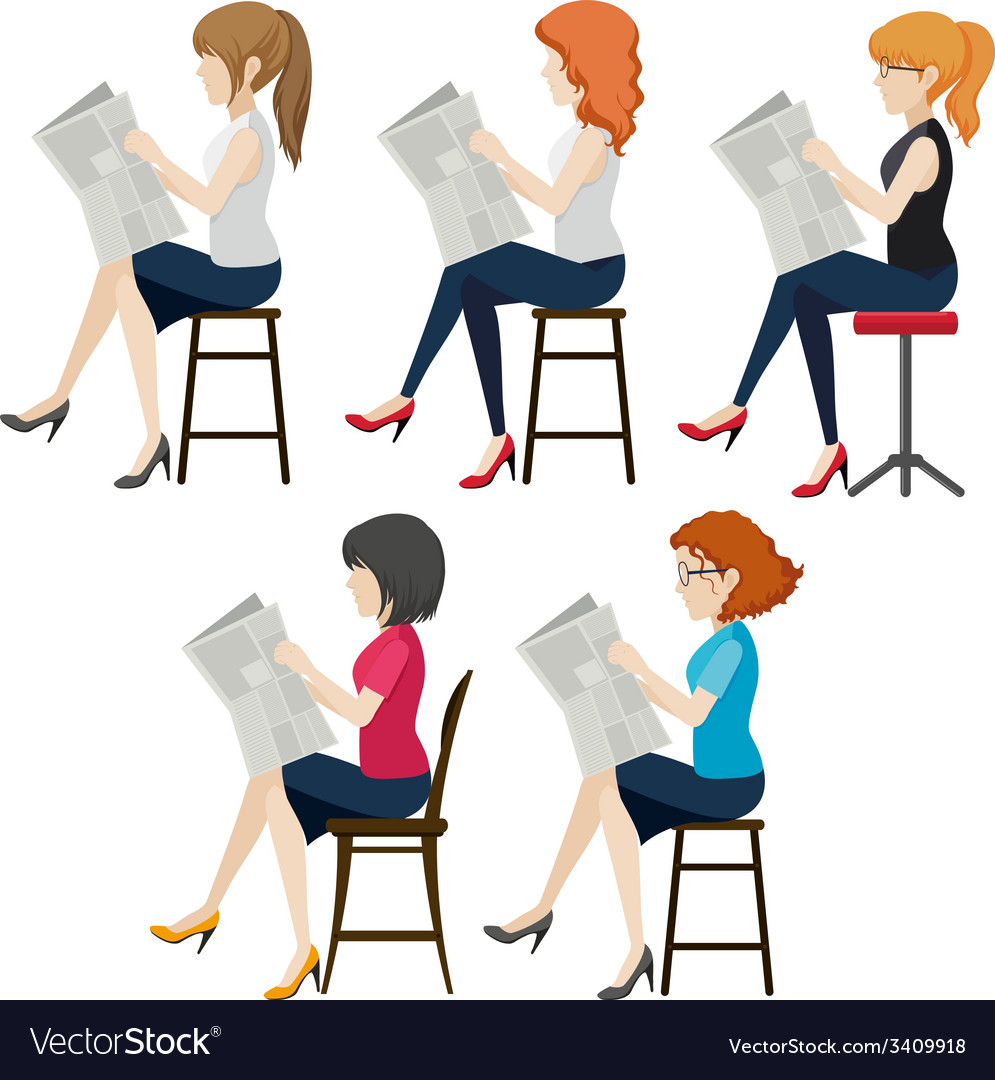 Faceless women reading vector